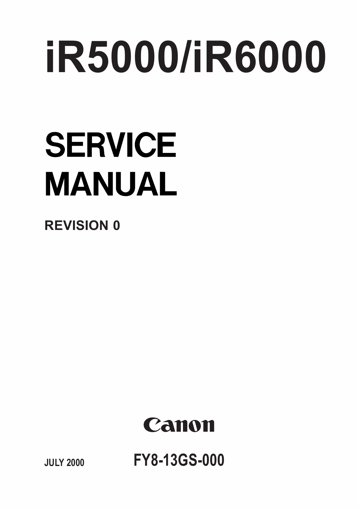 Canon imageRUNNER iR 5000 6000 Parts and Service Manual